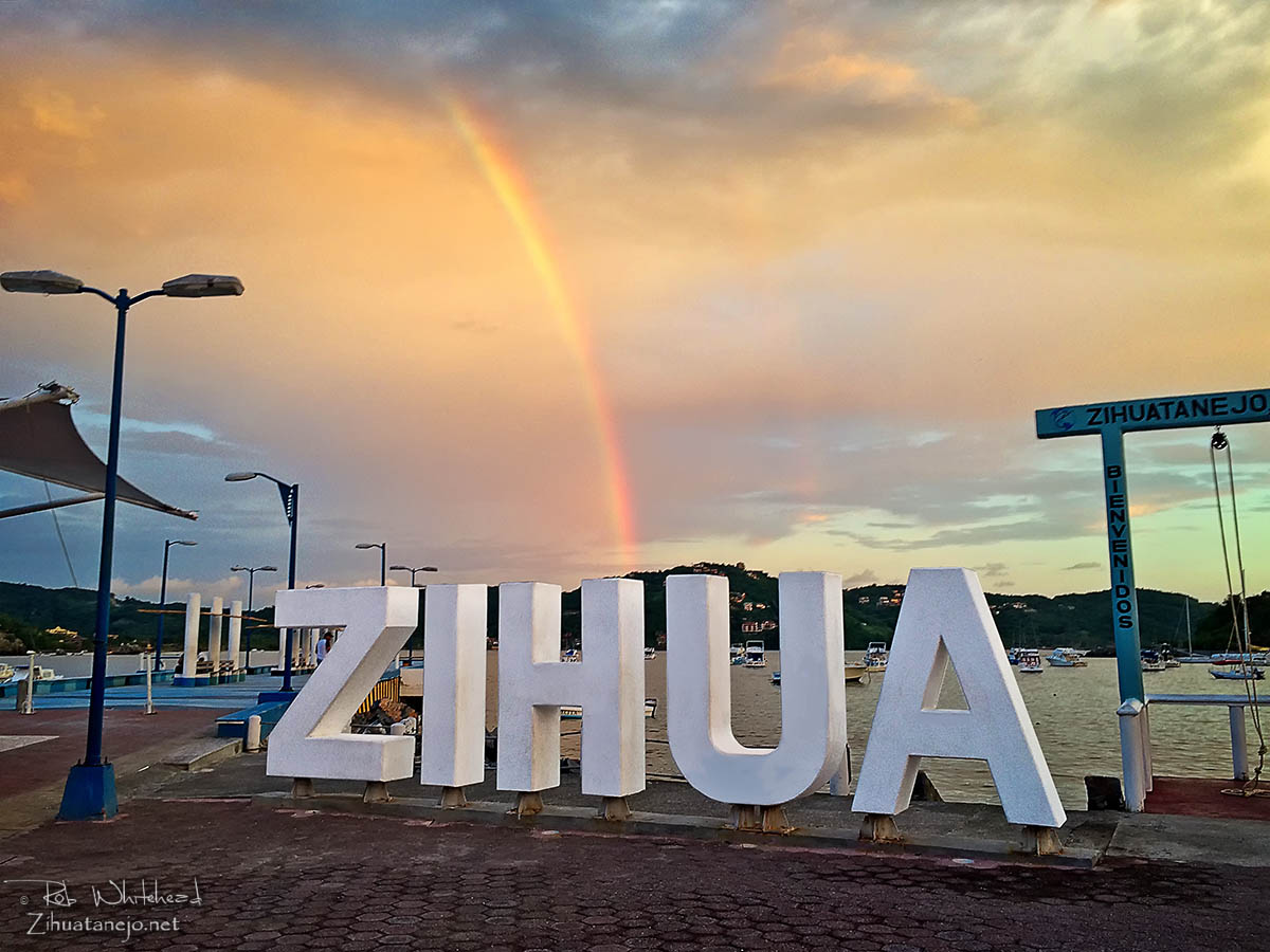 Rainbow over Zihua letters