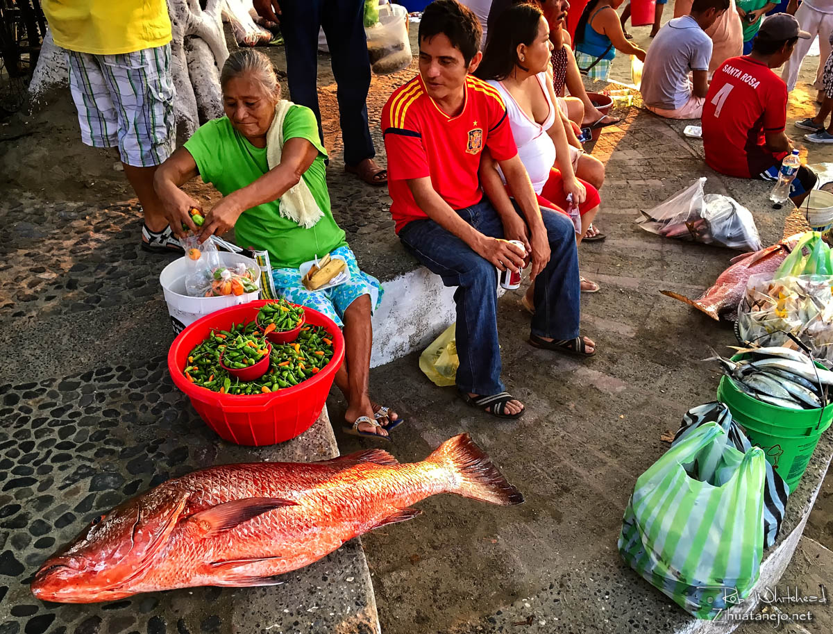 Red snapper and chili peppers in the fishermen's market, Zihuatanejo